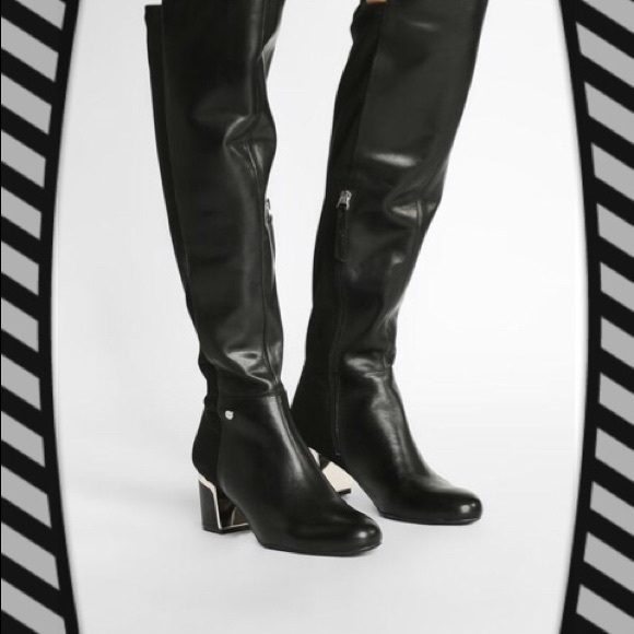 0538feb24af DKNY CORA KNEE BOOTIES BLACK LEATHER 8.5 US🌟